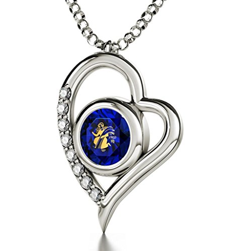 925 Sterling Silver Zodiac Heart Pendant Virgo Necklace 24k Gold inscribed on Dark Blue Crystal, 18'' by Nano Jewelry