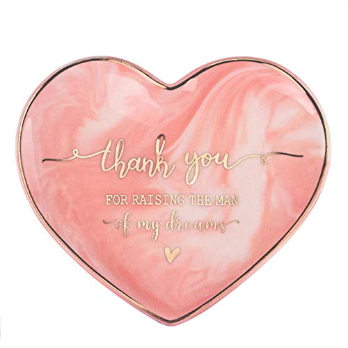 VILIGHT Mother in Law Gifts Thank You for Raising The Man of My Dreams - Pink Marble Heart Sharp Ceramic Ring Dish Jewelry Tray - 5.5