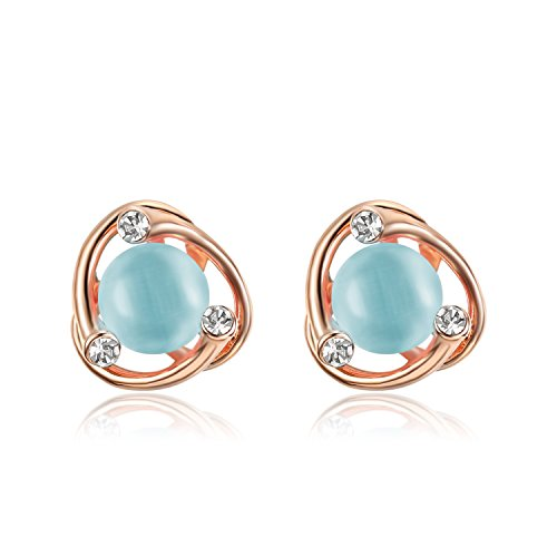 Lee Island Fashion Jewelry 18K Gold Plated Cat's Eye Flower Shape Fashion Earrings Woman Girl Gift-Gift Packing (Light (Blue Crystal Eyes Ear Cuff)