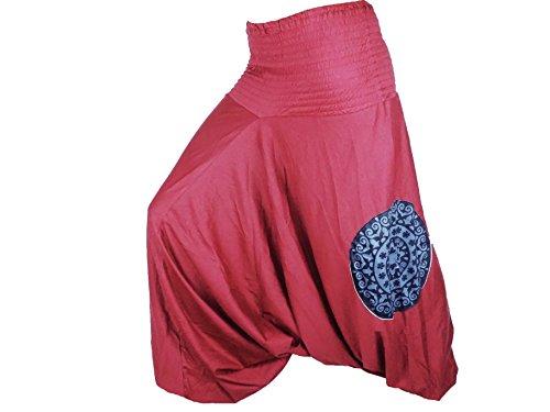 Sarouel Mujer Rojo Burdeos pantalón étnica Hacedor Aladin harén Pant 100% algodón tejido grueso Aladdin Hippie yoga Red