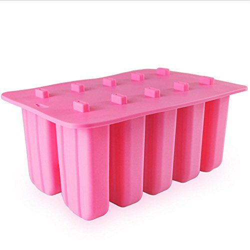 10-Cavity Frozen Ice Cream Pop Mold,Silicone Popsicle Mold for Toddlers, Kids and Adults - BPA Free ,Popsicle Maker Lolly Mould with Cover Lid + 62 Wooden Sticks (Pink)