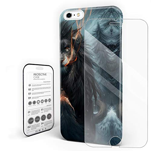 Compatible with iPhone 6 Case and iPhone 6s Case, Hard PC Back Phone Case with Tempered Glass Screen Protector Angry Hostile Lion Shockproof Protective Cover]()
