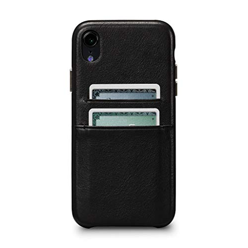 Kyla Leather Snap On Wallet Cell Phone Case for iPhone XR - Wireless Charging Compatible - Black
