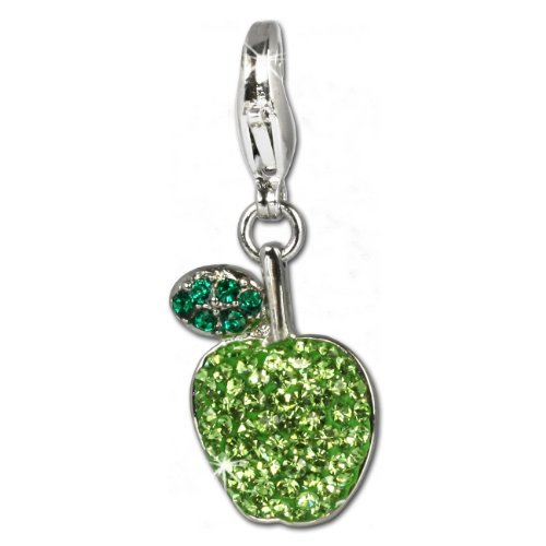 SilberDream Glitter Charm Swarowski Elements Appel Green 925 Sterling Silver Charms Pendant for Charms Bracelet, Necklace or Earring GSC201 from SilberDream Crystal