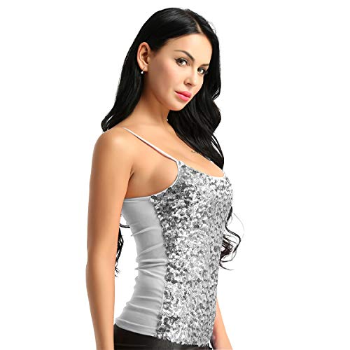 MSemis Sparkle Sequin Camisole Tank Shiny Cami Crop Top Dance Party Clubwear Silver-Gray One Size