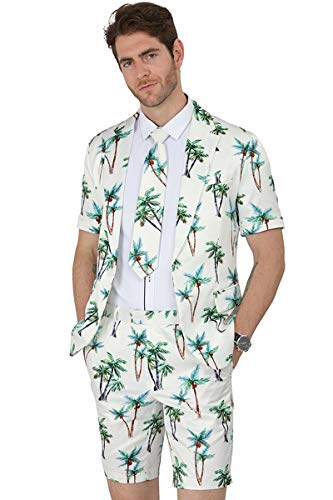 - MAGE MALE Men's Summer 2 Piece Suit Casual Beach Print Short Sleeved Blazer Shorts and Tie Sets