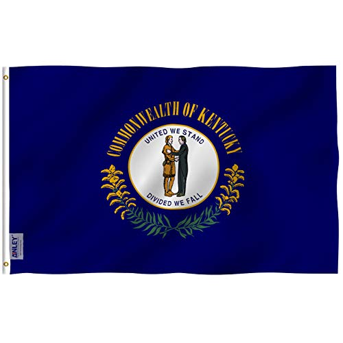 Kentucky State Flag - Anley Fly Breeze 3x5 Foot Kentucky State Flag - Vivid Color and UV Fade Resistant - Canvas Header and Double Stitched - Kentucky KY Flags Polyester with Brass Grommets 3 X 5 Ft