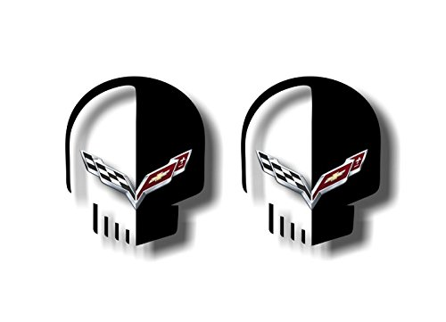 2 Jake Skull Vinyl Sticker Decals for Corvette C4 C5 C6 C7 ZR1 Z51 Z06 Decal Stickers (Black)