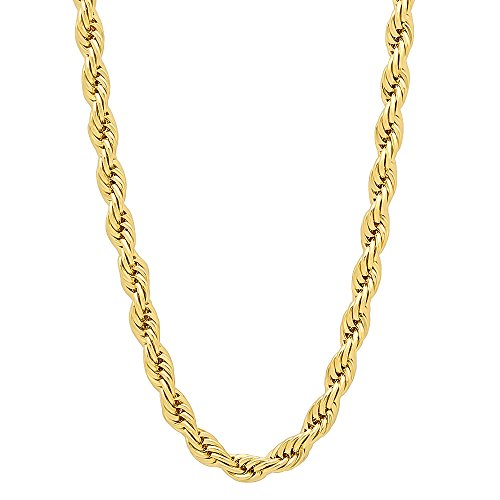 The Bling Factory 4mm 14k Gold Plated French Rope Chain Necklace, 30