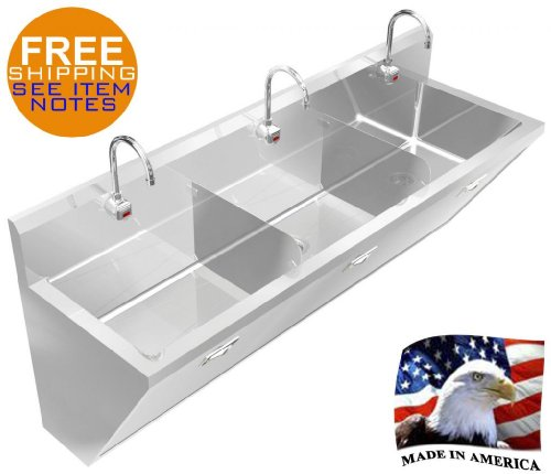 SURGEON'S WASH UP HAND SINK 3 STATION 80'' WITH ELECTRONIC FAUCET MADE IN AMERICA by BSM