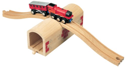 Maxim Wooden Train Track Over & Under Tunnel Bridge | Easy-Connect Railway | Compatible with Thomas, BRIO, Melissa & Doug, KidKraft | Toys for Boys, Girls ()
