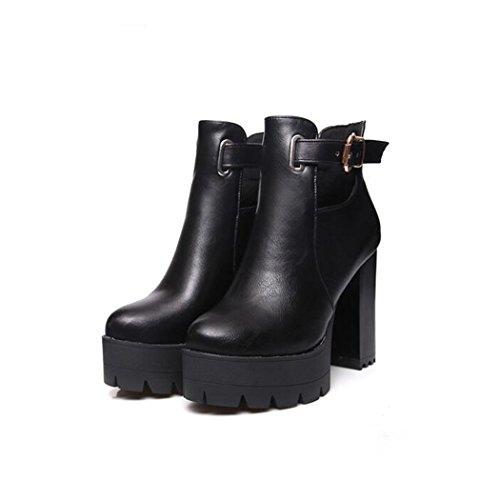 ZQ@QX Otoño e Invierno gruesa cabeza redonda con zapatos de tacón de moda cinturón expuestas grandes números, botas botas desnudo black