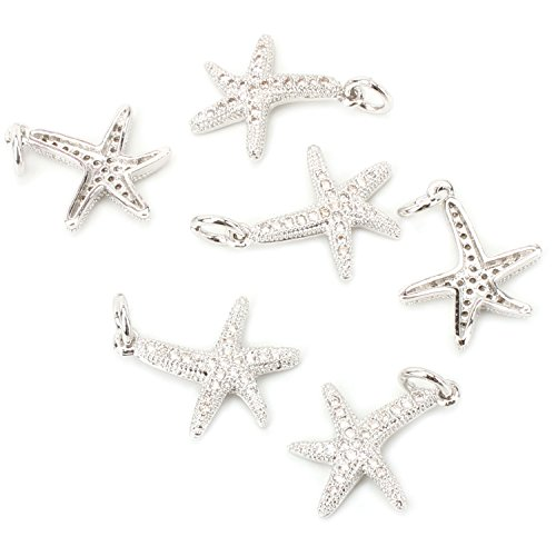Shaped Natural - Wholesale 6 PCS Silver Plated Brass Starfish Shaped Natural Zircon Inlaid Charm Pendant Bulk for Jewelry Making