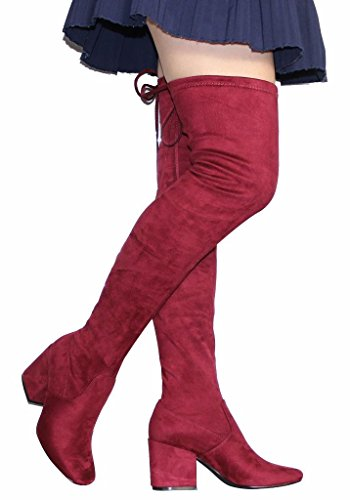 CAMSSOO Women's Fashion Square Toe Back Lace Up Thigh High Over The Knee Mid Chunky Heel Velveteen Boots Wine Red Velveteen Size 10 EU41]()