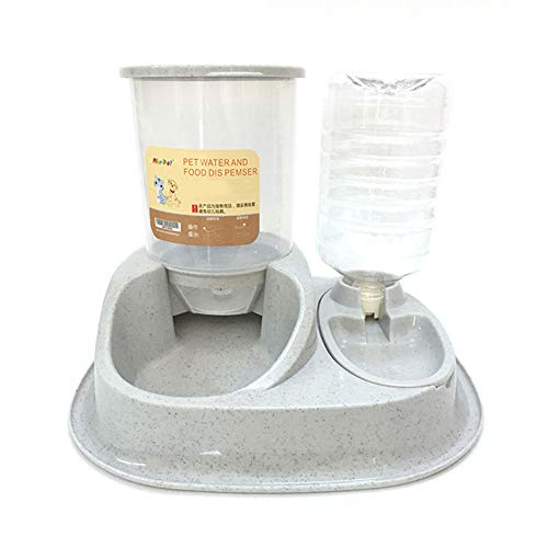 MXY Large Capacity Automatic Feeder, Automatic Water Dispenser, cat Bowl, Dog Bowl, Double Bowl of pet Supplies, Easy to Clean,Gray