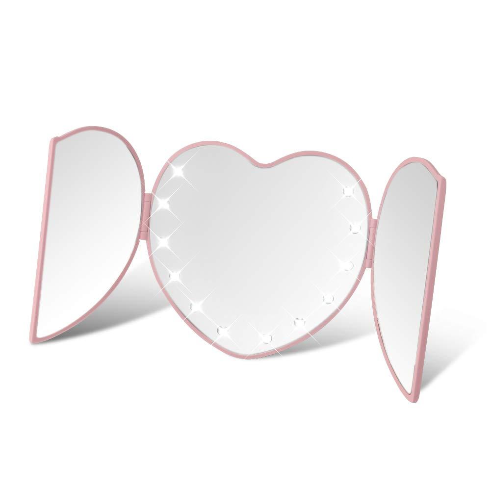 DUcare LED Lighted Travel Makeup Mirror Heart Folding Illuminating 8 Led Lights Pink