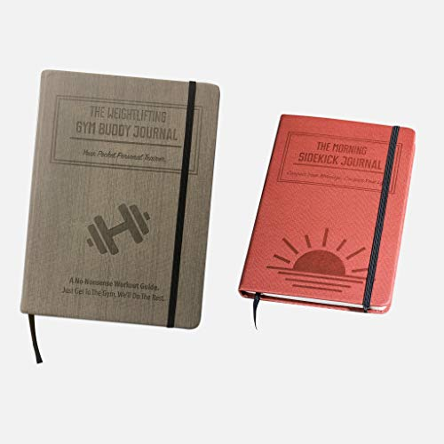 Habit Nest 1x Weightlifting Gym Buddy Journal (Gray) Bundle with 1x Morning Sidekick Journal (Sunrise Red). by Habit Nest (Image #1)
