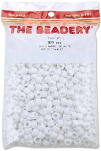 New - Pony Beads 6x9mm 900/Pkg-Opaque White by WMU