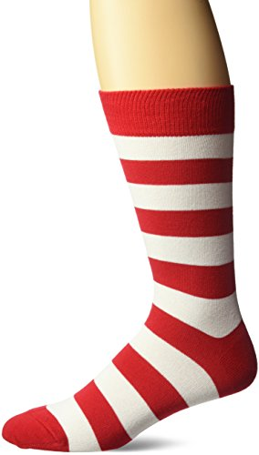 Red And White Costume (Hot Sox Men's Fashion Pattern Slack Crew Socks, College Rugby Stripe (Red/White), Shoe Size:)