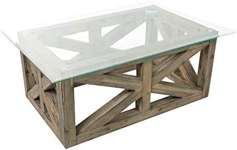Amazon Com Jofran Hampton Road Rectangle Glass Cocktail Table