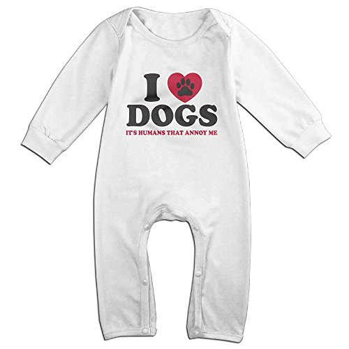 [I Love My Dog Newborn Baby Long Sleeves Climbing Clothes Boy's & Girl's Triangle Bodysuit Size 18 Months White Fashion] (Infant Toto Dog Costume)