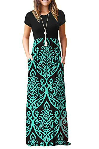 AUSELILY Women Short Sleeve Loose Plain Casual Long Maxi Dresses with Pockets (L, Black Green) (Dresses Shipping Long Free)
