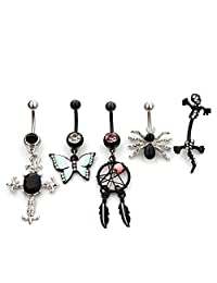 5 Pieces 14G Belly Button Rings Body Piercing Jewelry Wholesale Vcmart