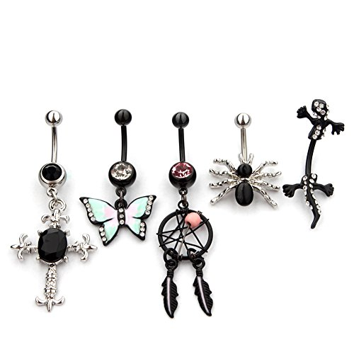 VCMART 5pcs Belly Button Rings Body Jewelry Piercing Wholesale - Gothic Belly Ring
