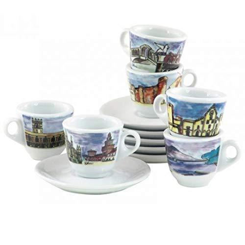 Nuova Point NPGEI Genova White Italian Cities 6-piece Espresso Cup & Saucer Set