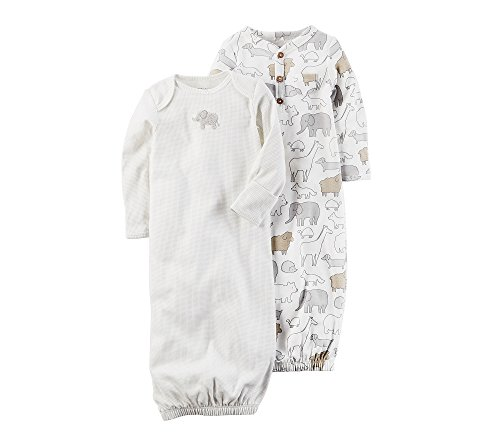 Carter's Baby 2-Pack Sleeper Gowns with Elephant Print Newborn (Sleeve Print Sleeper Long)