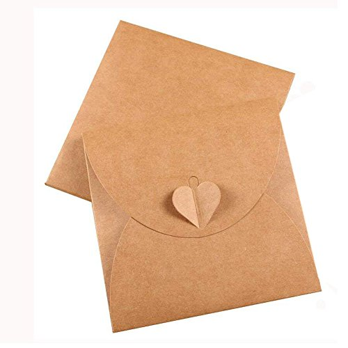 25Pcs Retro Brown Kraft Paper CD DVD Sleeves Envelopes DVD Cardboard Storage Cases Keepers Holder with Heart Button for CD/DVD Packaging or Store