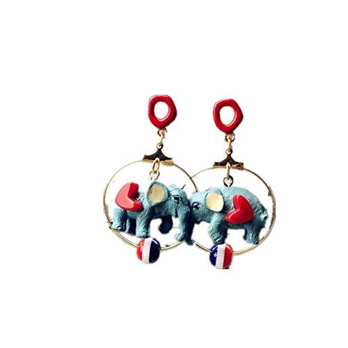 Circus Circles - Dumbo Circle Earrings 3D Circus Drop Cartoon Elephant Dangle Girl Women Jewelry