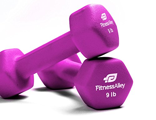 Fitness Alley Neoprene Dumbbell Set Coated for Non Slip Grip – Hex Dumbbells Weight Set – Hand Weights Set – Neoprene Weight Pairs – Hex Hand Weights – Set of Two Neoprene Dumbbells