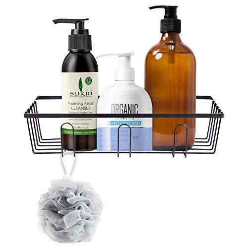 (HOMEIDEAS Adhesive Bathroom Shower Caddy Mental Bath Shelf Storage Basket No Damage Basket with Front Hooks for Kitchen,Bathroom Black)