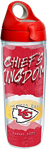 Tervis 1251992 NFL Kansas City Chiefs NFL Statement Tumbler with Wrap and Red with Gray Lid 24oz Water Bottle, Clear