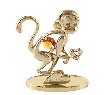 2016 Monkey Year (Chinese Zodiac) - 24k Gold Plated Monkey Free Standing with Swarovski Element Crystal -
