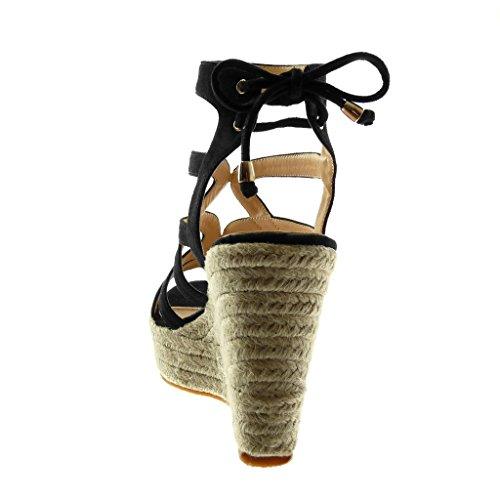 Angkorly Zapatillas Moda Sandalias Mules Plataforma Gladiator Mujer Cuerda Trenzado Multi-Correa Plataforma 11 cm Negro