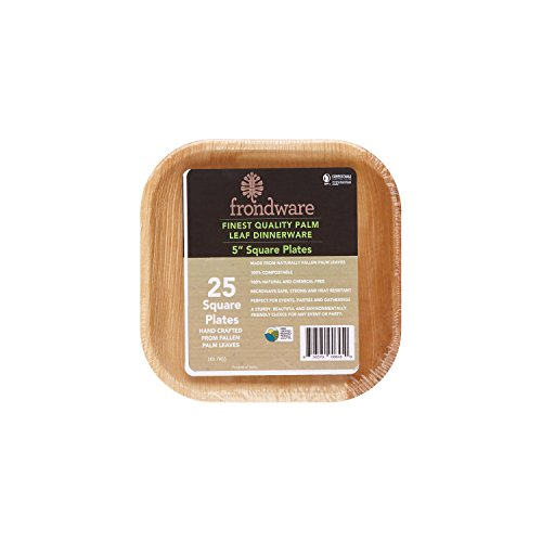 Frondware 5' Palm Leaf Square Disposable Plates - Pack of 25 - Compostable - 100% Natural - Chemical Free - USDA Certified Biobased Product