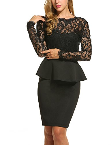 Aceovg Women's V Neck Long Lace Sleeves Peplum Midi Cocktail Party Dress Black_XXL