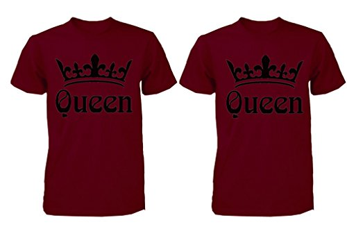 FASCIINO LGBT Matching Gay Pride Hers & Hers Lesbian Couple T-Shirt Set - Queen and Queen Crowns (Queen Shirt #1: XLarge/Queen Shirt #2: Medium Maroon)