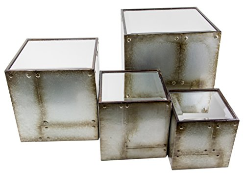 Set of 4 Square Mirrored Industrial Display Risers - 11'', 9'', 7'', 6'' by Red Co.