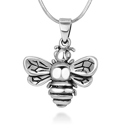 925 Oxidized Sterling Silver Queen Honey Bee Little Bumblebee Pendant Necklace, 18 inches Chain ()