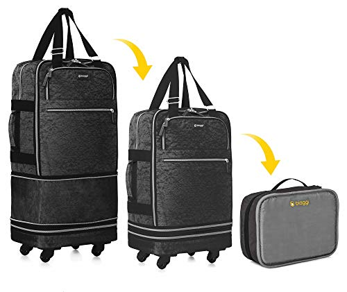 Biaggi Zipsak Boost Carry-On Suitcase - Compact Luggage Expands 22-Inches to 28-Inches - As Seen on Shark Tank - Black