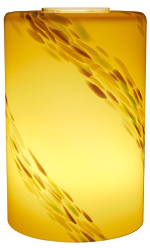 Glass Cylinder Amber (American Lighting GM-A-AMS Small Cylinder Hand Blown Glass Light Cover with Abstract Design, 5.9-Inch Height x 3.75-Inch Diameter, Amber Stripe)