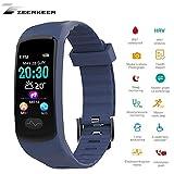 ZEERKEER Smart Watch, Bluetooth Smart Bracelet ECG+PPG Blood Pressure, Heart Rate IP67 Waterproof Sports Pedometer Step Counter for Android/iOS Smartphones (Blue)