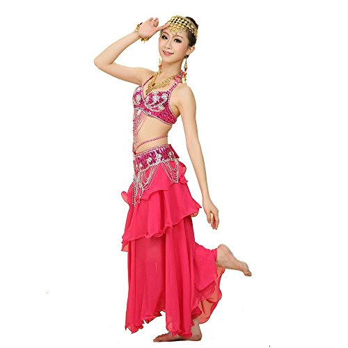Pilot-trade Lady's Belly Dance Costume Sets Bra Belt Full Circle Skirt Outfit Dark (Belly Dance Bra Cover)