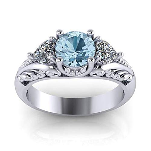 Aunimeifly Exquisite Sapphire Engagement Ring Romantic Creative Couple Lovely Anniversary ()