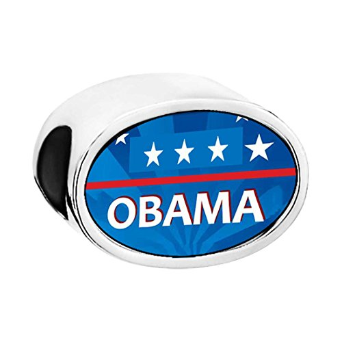 Obama Jewelry - Character Obama Photo White Crystal(April Birthstone) Believe Oval Bead Charm Bracelets