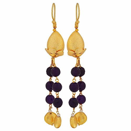 Maayra Hanging Earrings Golden Blue Dangler Drop Party Jewellery by Maayra