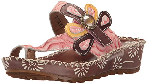 Toe Sandal Step by Ring Women's Dafine Spring L'Artiste Brown q0fwXAx